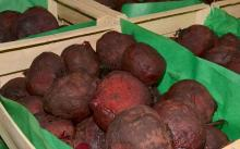 Cooked beets sold fresh and unpeeled